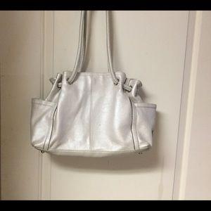 Tignanello Silver Pebbled Leather Handbag EUC FIRM